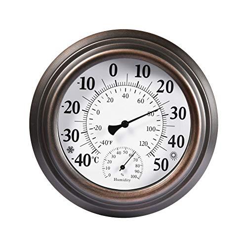 8-Zoll-Thermometer Antikkupfer Dekoratives Innen- / Außenthermometer Hygrometer - Passen Sie die lokale Temperatur automatisch Antike Lackierte Eisen Shell Temperatur und Luftfeuchtigkeit Messgerät