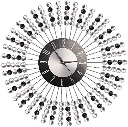 ZXF5 43cm Clear Black Diamante Beaded Jeweled Wall Clock - Crystal Bling Round Wall Clock