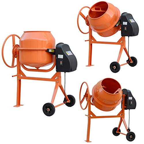 Concrete Cement Mixers 120 Litre Capacity 220V Powerful 450W Electric Drum Portable Mortar Plaster Mixer DIY Building Tools with 2 Wheels