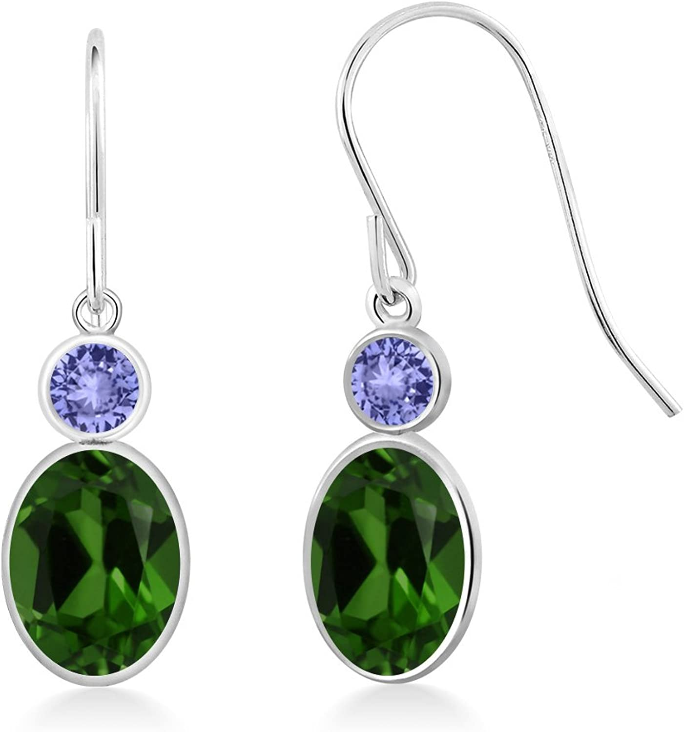 1.84 Ct Oval Green Chrome Diopside bluee Tanzanite 14K White gold Earrings