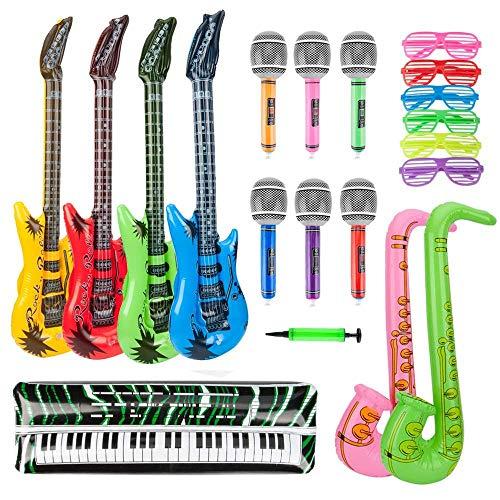 Aeromdale - Juego de juguetes inflables para guitarra saxofón, micrófono, teclado, piano, hinchable, con bomba de globos para decoración, 20 piezas de accesorios para fiestas
