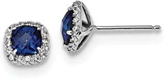 925 Sterling Silver Created Blue White Sapphire Post Stud...