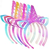 18 Pieces Unicorn Headband Christmas Hairbands Plastic Horn Glitter Rainbow Hairbands Party Hair Hoop for Girls Cosplay Party Birthday Accessories
