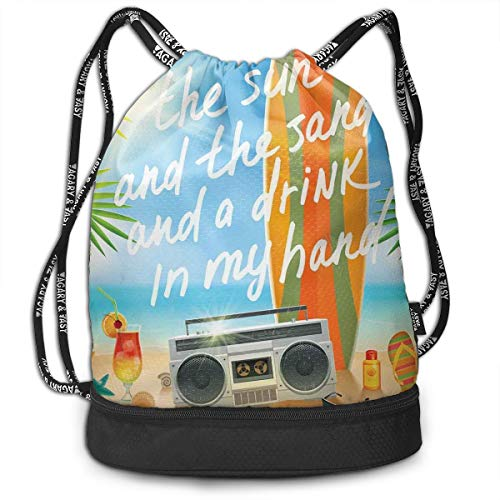 NoBrand Drawstring Backpack String Bag Casual, D3444 Retro Design Tropical Beach With Surfboard Palm Leaves Flip Flops And Sunglasses