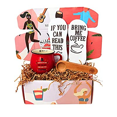 Coffee Lover Gift Box By Silly Obsessions. Unique Gift Basket for birthday, new home warming, housewarming, dinner party. Best Coffee Gift Set for family, friends, and coworkers...