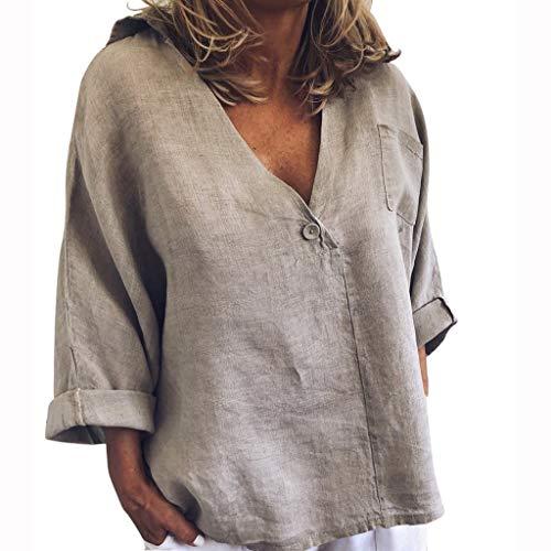 BUKINIE Liquidation T-Shirt Pas Cher Chemise Tunique pour Les Femmes Automne Manches Longues Occasionnels Bouton Poche lâche Coupe t-Shirt de la Mode Tops (Gris,Small