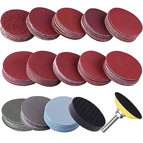 130 piezas Discos abrasivos de 50 mm Discos de pulido de grano Abrasivo Conjunto de papel de lija + Mesa de arena de almohadilla de esponja para molienda de molienda con bloc de notas, almohadilla de