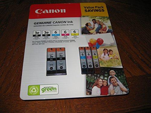 Canon Genuine PIXMA Value Pack Ink Cartridges BCI-3e (2 Black)/BCI-6 (Cyan, Magenta & Yellow)