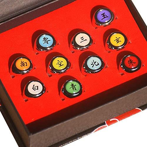 Juego de anillos de Naruto en caja, anillos Akatsuki, juego de anillos de cosplay para los fans de Ninja de Itachi Sharingan