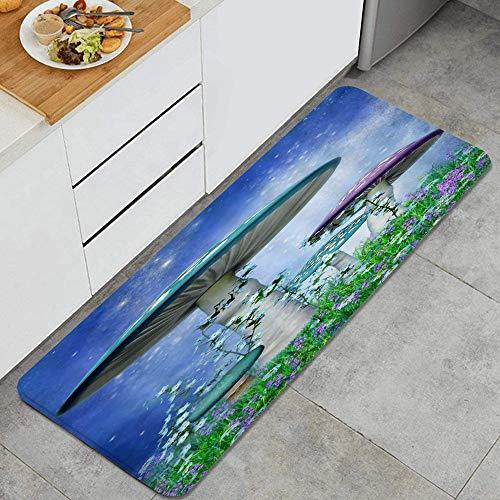 VAMIX Tappeto da Cucina,Funghi colorati fantasia cielo blu prato verde fiori profumati fiaba scenario,antiscivolo passatoia da cucina antiscivolo zerbino tappetino per il bagno
