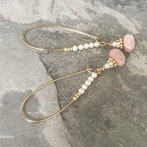 QWEQWE Pendientes de aro de Perlas y aro de Jasper Pendientes de aro de Perlas (Metal Color : Light Yellow Gold Color)