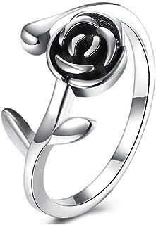 Lozse Anelli regolabili Anello s925 argento donna rosa anello aperto