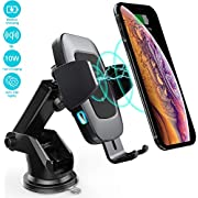 Heiyo Wireless Car Charger Mount, Auto-Clamp 10W/7.5W Qi-Certified Charging Holder, Windshield Dashboard Air Vent Compatible with iPhone Xs/Max/X/XR/8/8 Plus,