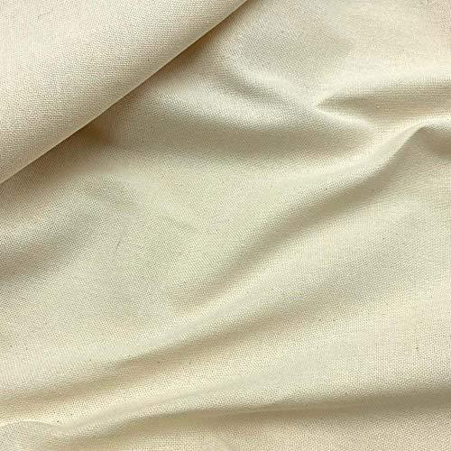 Kt KILOtela Tela reciclada de loneta Lisa - 87% algodón Reciclado, 13% poliéster Reciclado (100% GRS) - Retal de 100 cm Largo x 280 cm Ancho   Natural ─ 1 Metro