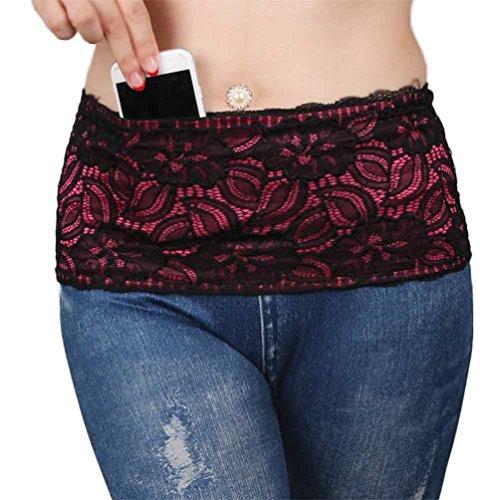 POPLife 1pcs Waist belt and 4 Secured Pockets Stretch Fanny Travel Money Belt Lace Fitness Waist Bag Running Belt, Black, Large