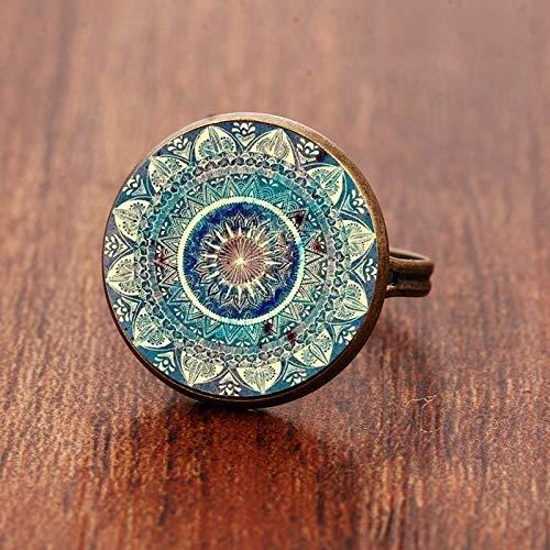 Vintage Buddhism Chakra Henna Glass Dome Cabochon Ring Om Yoga Mandala Rings for Women...