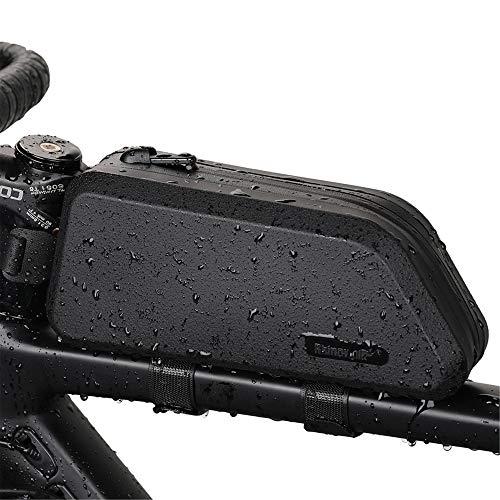 Rhinowalk Bolsa Cuadro de Manillar Tubo Superior Impermeable Capacidad 1,5L, Bolsa Sillín para Bicicletas MTB Bici de Carretera Bici Plegable (Negro)