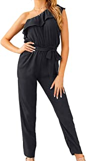 Elegant Jumpsuits for Women Petite, Dressy Rompers Casual Belted Pants with Pocket