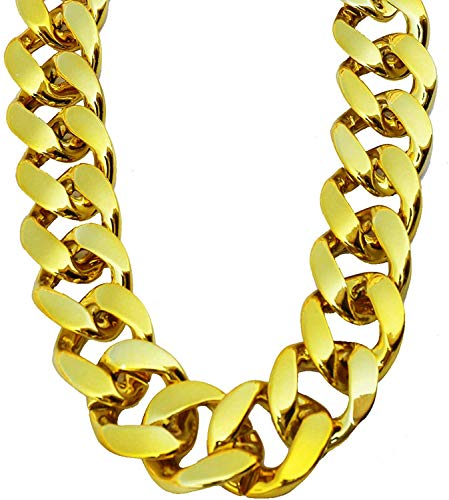 PinCute Big Chunky Hip Hop Turnover Chain, Face Gold Chain Costume, Plastic Gold Chain Necklace, 90s Punk Style Necklace for Rapper Costume, 36 inches Long