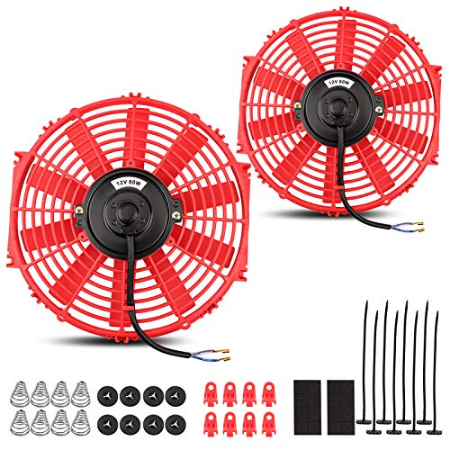 (2 Packs) Universal High Performance Reversible 2x12'' Red Electric Radiator Cooling Fan with Mounting Hardware 1750 CFM12V 6.67 Amps80 Watts