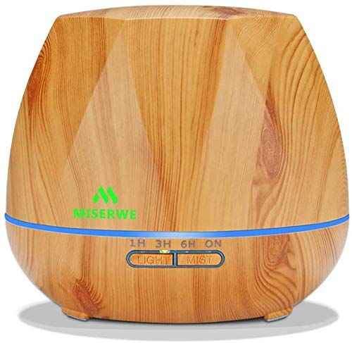 Miserwe 550ML Aromatherapy Essential Oil Diffuser Ultrasonic Aroma Humidifier - Adjustable Mist and 7 Color LED Lights Waterless Auto Shut-Off for Home, Office, Bedroom and Baby