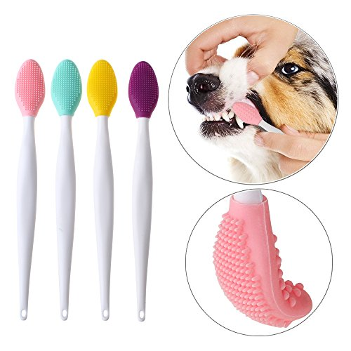 Dog toothbrush, Double-sided soft silicone gentle dental brushes kit with curved long handle