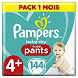 Couches Culottes Pampers Taille 4+ (9-15 kg) - Baby Dry Nappy Pants, 144 culottes, Pack 1 Mois