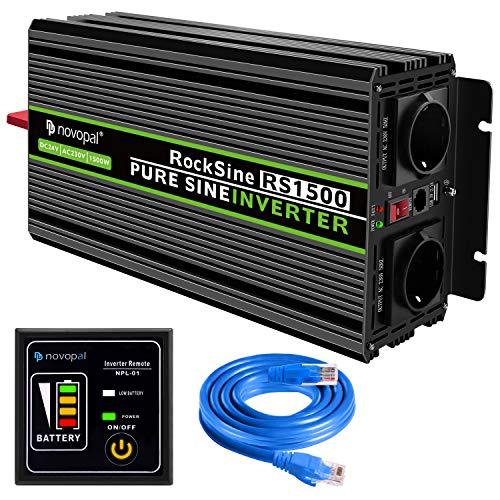 novopal® Spannungswandler 24V auf 230V 1500W/3000W Reiner Sinus Wechselrichter Konverter mit Zwei AC-steckdosen mit Fernbedienung und 2.1A USB