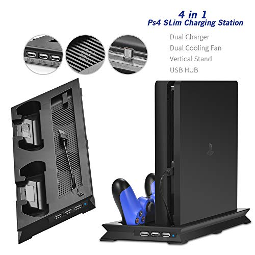 PS4 Slim Vertical Stand with Cooling Fan Gamepad Charger Charging Dock Station for Sony Playstation 4 Slim PS 4 Games