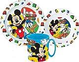 Mickey Maus Kinder-Geschirr Set mit Teller, Müslischale und Trinkbecher inkl. Besteck