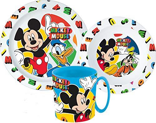 Mickey Mouse - Vajilla infantil con plato, cuenco para cereales y vaso (incluye cubiertos)