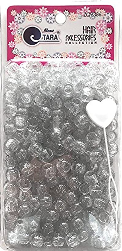 Tara Metallic Color 12 MM Plastic Beads For Braid Hair 240 Pieces In One Pack (Pack of 1, Clear)