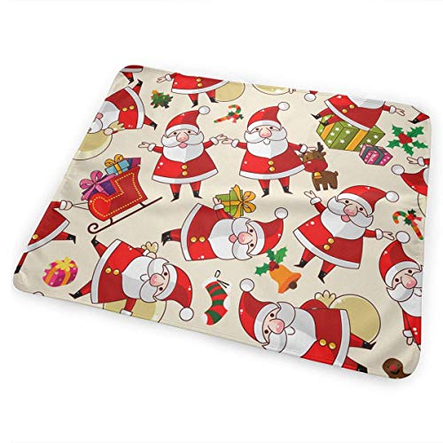 Voxpkrs Santa Claus Seamless Baby Crib Pee Changing Pad Mat Mattress Protector for Toddler Kids Infant Pets