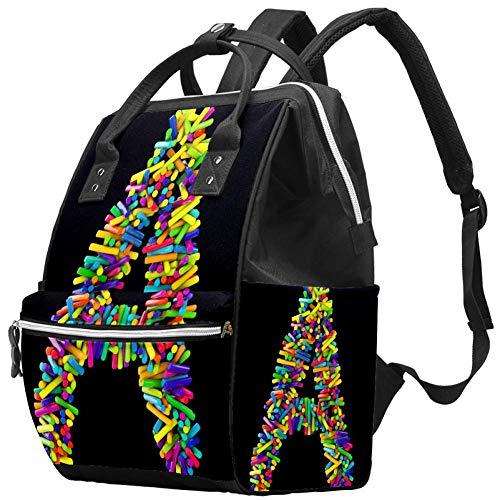 Arranged in Letter A 3D Rendering Travel Rucksack Casual Daypack Maternity Nappy Bag Organizer Nursing Bottle Bag