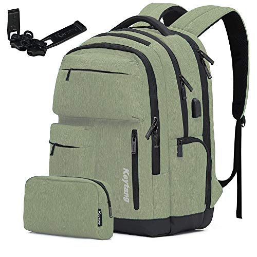 Travel Laptop Business Backpack Anti Theft College Computer Bagpack Keyhole zipper Design Gifts for Men amp Women Fits 156 Inch Notebook with USB Charging Port Bonus a Small pencil CaseGrass green