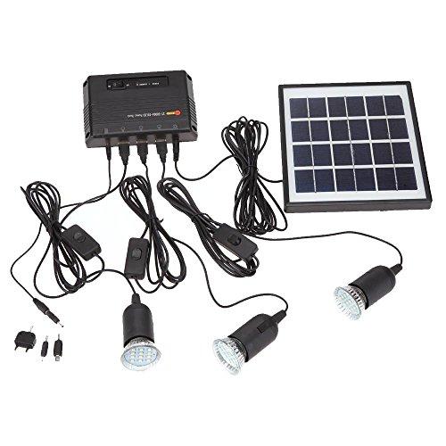 Docooler 4W Kit de Panel Solar propulsado, 3 Bombillas LED, USB, 5...