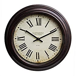 Patton Wall Decor 12 Inch Bronze 12 Traditional Roman Numeral Clock