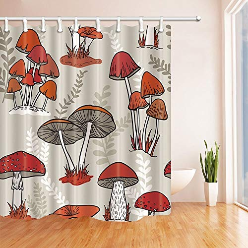 NJMRZX Watercolor Flowers Shower Curtains for Bathroom Colorful Mushrooms Grow on the Grass Polyester Fabric Waterproof Bath Curtain Shower Curtain Hooks Included 71X71in
