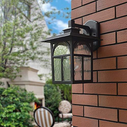 Luz de la pared europea Luz de pared al aire libre rústico industrial fundido de aluminio fundido de aluminio Lámpara de pared a prueba de agua con sombra de vidrio Aplique de pared exterior Linterna