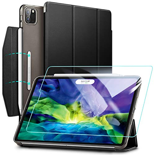 ESR Case for iPad Pro 11 (2020 & 2018) with Tempered-Glass Screen Protector,Yippee Trifold Smart Case with Auto Sleep/Wake,Lightweight Stand Case with Clasp, Hard Back Cover, Black