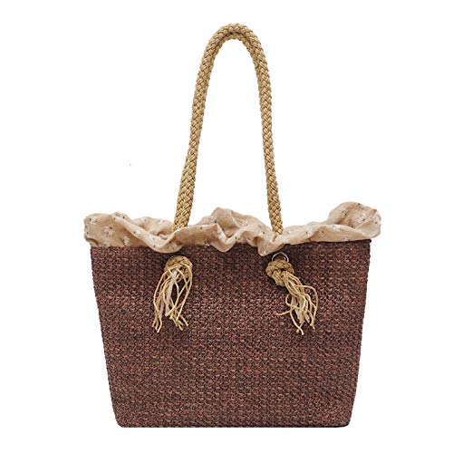 BSTLY Backpack Casual Small Bag Female Fashion Shoulder Bag Summer Woven Foreign Gas Portable Brown