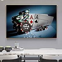 抽象芸術プリント世界のポーカー写真シリーズキャンバスパニティングポスターモダンウォールアート油絵リビングルームの装飾の家-60x90cmフレームなし