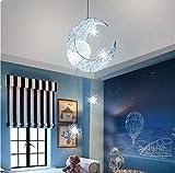 Winbang Lámparas de techo, luna y estrellas Lámparas colgantes LED Lámparas de aluminio para la iluminación de la habitación de los niños para la decoración del hogar (Blanco frío)