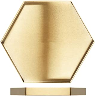 I3C Decorative Tray Plate, Gold Jewelry Dish, Makeup Tray Organizer for Vanity, Bathroom, Dresser, Serving Tray for Drink, Breakfast, Tea, Dinner Beautiful Metal Stainless Steel Tray (Hexagonal, L)
