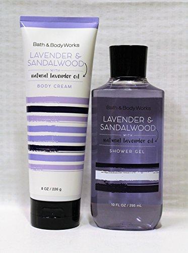 Bath & Body Works - LAVENDER & SANDALWOOD natural lavender oil - body cream, & shower gel – Set