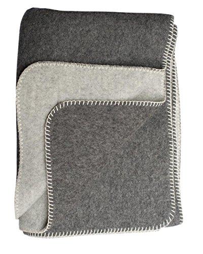 STEINBECK, Doubleface-Decke Ökolana aus 100% naturbelassener Schurwolle, 150 x 200 cm, 1800 Gramm (Dunkelgrau/Hellgrau, 150 cm x 200 cm)