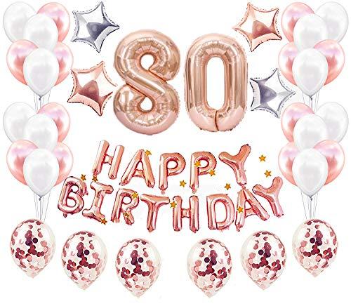 JeVenis 37 PCS Rose Gold 80. Geburtstag Dekorationen Party Supplies Nummer 80 Geburtstag Luftballons Alles Gute zum Geburtstag Ballon Banner
