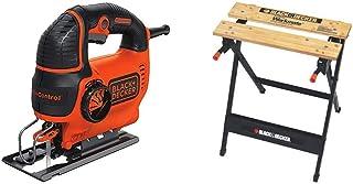 BLACK+DECKER Jig Saw, Smart Select, 5.0-Amp with Workmate Portable Workbench, 350-Pound Capacity (BDEJS600C & WM125)