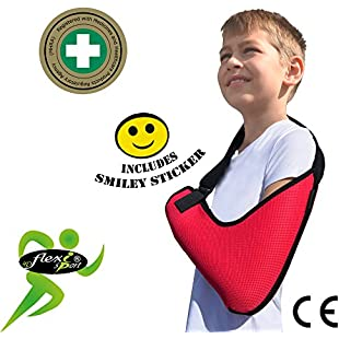 Child Arm Sling Shoulder Support (Rasp, 8-9yrs) XTRA deep, light, airflow cooling ULTRA COMFORT. PLAY-SAFE with integrated functional thumb loop, easy sizing adjustable fit, reversible L/R arm. Includes SMILEY sticker. UNISEX.:Tudosobrediabetes