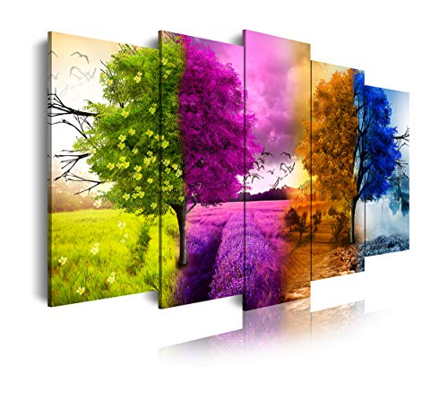 DekoArte 515 - Cuadros Modernos Impresión de Imagen Artística Digitalizada | Lienzo Decorativo Para Tu Salón o Dormitorio | Estilo Paisaje Cuatro Estaciones del año Árboles | 5 Piezas 200 x100 cm XXL
